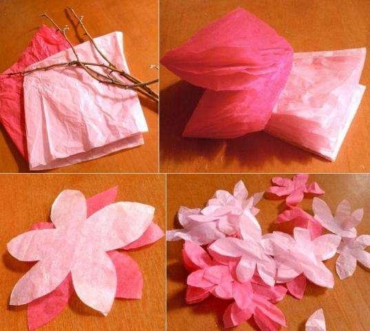 Мягкая бумага складывается в квадраты до тех пор, пока не получится несколько складок