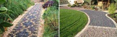 Роем траншею на глубину 150 мм. На дно стелим геотекстиль, который предотвратит прорастание сорной травы. К тому же он не дает компонентам тропинки уходить в землю под воздействием грунтовых вод.