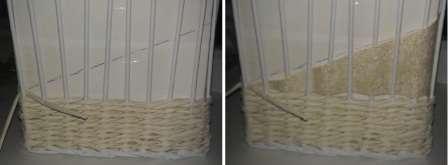 Из обоев или красивой фактурной бумаги вырежьте треугольник, а потом между стойками вставьте его через одну трубочку, чтобы хорошо закрепить.