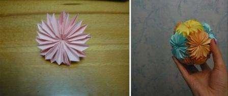 Склеивать цветы в шар – это самый сложный этап в технике кусудама, так как нужно выполнять работу аккуратно, а площадь склеиваемой поверхности минимальная.