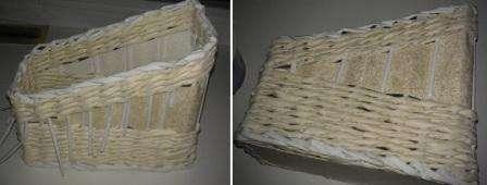Когда плетение закончено, вам нужно обработать края. Для этого переплетаются трубочки-стойки и опускаются вниз под плетение. Выступающие трубочки потом можно будет обрезать