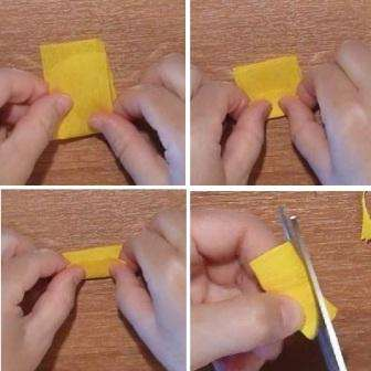 Теперь можете приступить к обработке следующего прямоугольника длиной 9 см. Вам нужно будет его сложить сначала пополам, потом на одну треть и еще раз на треть.</p> <p> Получившийся прямоугольник надо обрезать так, чтобы придать форму лепестка. В итоге, когда развернете заготовку, у вас должна получиться фигура, напоминающая корону.» width=»336″ height=»336″/></p></div> </p> <p>Возьмите снова фломастер, на который надета предыдущая деталь и приложите фигурную заготовку в форме короны так, чтобы слегка выступала гладкая сторона.</p> <p> Точно также край скрутите и потом приступите к распрямлению лепестков.</p> <p><div style=