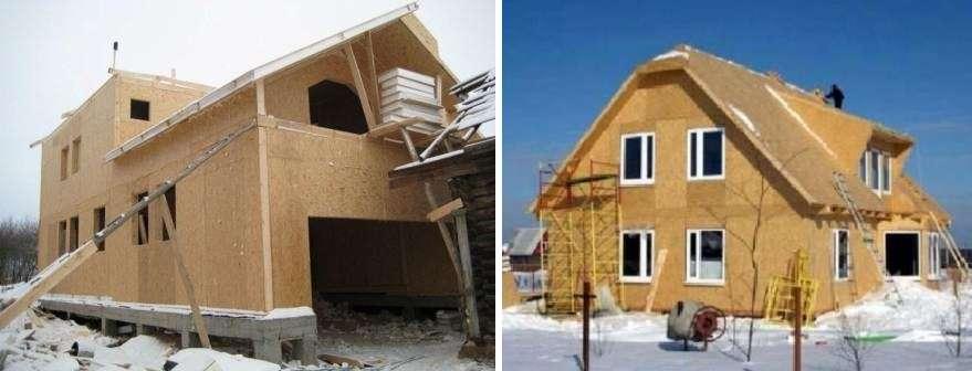 Жилой дом возводится по бескаркасной технологии.</p> <p> Тогда для соединения плит используется специальный соединяющий брус. Этот способ позволяет сэкономить, так как нет необходимости в установке металлических конструкций. » width=»602″ height=»230″/></p></div> </p> <p>ь, так как нет необходимости в установке металлических конструкций.</p> <p> Здание, построенное по такой технологии, отлично выдерживает нагрузку от снега на крыше, а также поперечный вид нагрузок, например, от ветра. <br/>2. Строительство каркасного здания, где роль основы играет деревянный брус или металлическая конструкция.</p> <p> Метод позволяет быстро возвести дом, причем он будет экологически чистым.</p> <h3>Смотрите видео: Отзыв о доме из сендвич-панелей</h3> <p><iframe data-src=