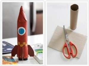 Из обычного картонного рулона, который чаще всего попадает в мусор после использования, легко сделать настоящую космическую ракету. Для этого возьмите рулончик и кусок гофрированного картона. После этого сделайте 4 надреза на рулончике глубиной до 5 см и скрутите их так, чтобы получился конус. Это будет верхняя часть ракеты. Склейте ее плотно ПВА.