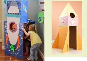 Если у вас маленький ребенок, попробуйте сделать для него из обычных коробок ракету, в которую он сможет спрятаться или играть в космонавта вместе с другими детьми. Чем больше будет ваша ракета, тем интереснее ребенку будет игра. Не забудьте разукрасить яркими красками вашу поделку, чтобы она стала настоящим украшением детской комнаты.