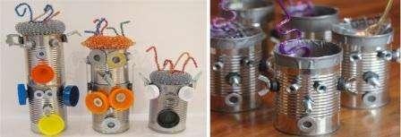 Изготовить космического робота легко даже из консервных банок, главное – проявить фантазию.