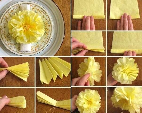 Хотите сделать топиарий? Тогда сделайте заготовки из маленьких салфеток, а потом приклеивайте их на подготовленный шар из пенопласта.Чтобы получился букет цветов, то придется отдельно сделать стебель для вашего цветка