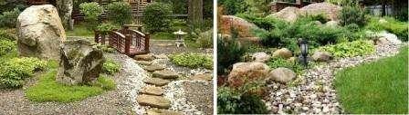 Хотя многие считают камень обычным материалом, с его помощью легко преобразовать дачный участок. Крупные и мелкие камни могут использоваться в комбинации с растениями, тогда получится оригинальная альпийская горка.