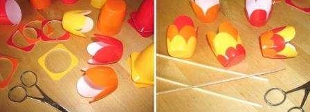 Обрежьте сначала стаканчики, чтобы они приняли одинаковую форму. Потом вырежьте края так, чтобы они были похожи на цветок. Не бойтесь, что стаканчики будут разной высоты, главное, чтоб тюльпан получился оригинальным.