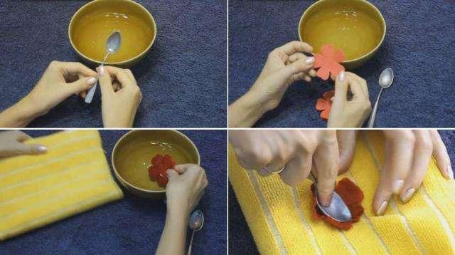 С помощью шаблонов вырезаем лепестки нашего искусственного цветка. Для одной розы понадобится четыре цветочка - заготовки, которые будут вырезаны по шаблону