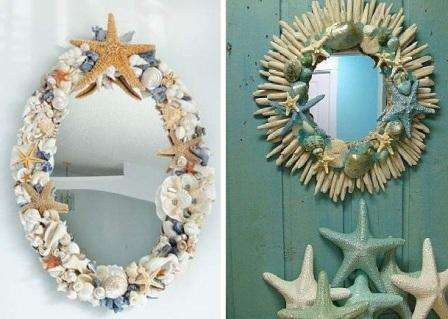 Попробуйте украсить ракушками зеркало. Для этого вам понадобится только клеевой пистолет и достаточное количество природного материала.