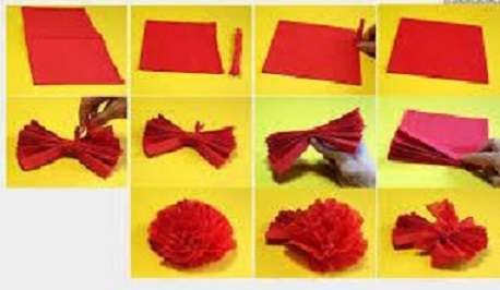 Для пышного цветка вам пригодятся многослойные салфетки яркого красного, бордового или белого цвета. У каждой салфетки необходимо обрезать или оборвать край, который не разворачивается. После этого несколько салфеток разверните,