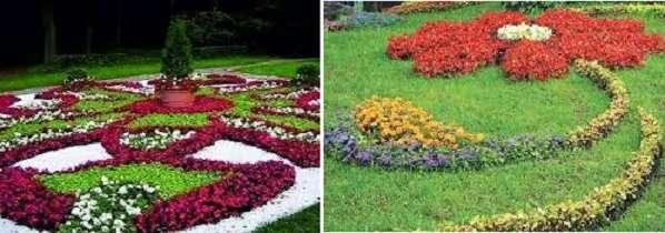 Арабески придутся по душе любителям креативных решений, ведь с помощью низкорослых растений можно засаживать цветник в виде геометрических фигур. Иногда для оформления используют камни, мелкий гравий.