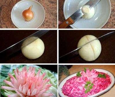 Хотя из лука вырезать цветы достаточно просто, не каждый отважится вступить в «слезную борьбу» с этим овощем. Луковая хризантем идеально подойдет для украшения таких салатов как Оливье или Селедка под шубой.