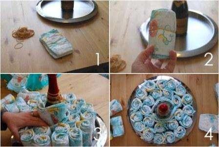 пошаговый мастер-класс торта из подгузников: