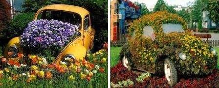 Современные дачники умело использовали даже автомобиль, который полностью покрыли цветами. В форме автомобиля клумбу делают также из металлического каркаса.