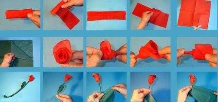Роза – это любимый цветок многих девушек и женщин. Сделать ее из обычной салфетки достаточно просто, а если использовать цветные салфетки, то поделка будет больше похожа на настоящую.