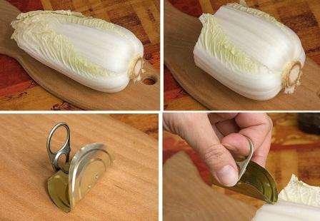 Кроме капусты вам понадобится крышка от консервной банки как на фото. Идеально подойдет крышка от оливок или маслин. Согните ее пополам, чтоб удобно было нарезать капусту на мелкие и тонкие детали.