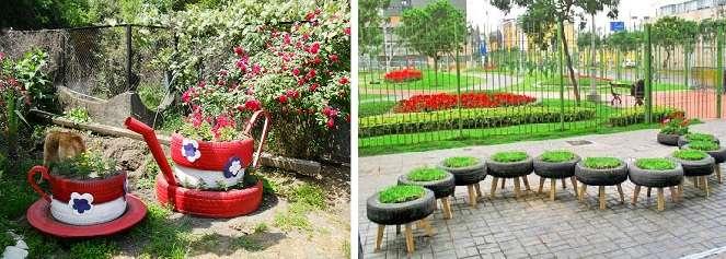 Небольшие клумбы находчивые садоводы научились делать из автомобильных шин.