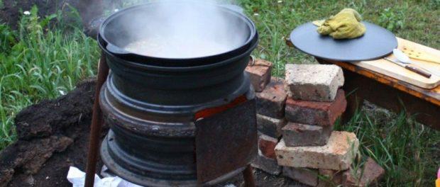 Печка из дисков колес для казана. Фото изготовления