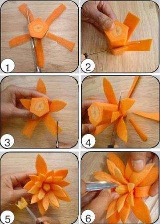 Сначала разрежьте морковку на несколько частей. Удобнее работать новичкам будет с широкой частью. Теперь нужно придать морковке форму пятиугольника, обрезав скругленные края.