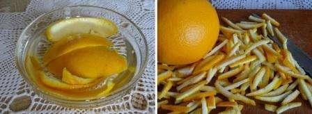 Спустя несколько часов можете вытащить кожуру, слегка ее просушить и нарезать полосочками. Вы можете попробовать варенье варить с лимоном, а не с апельсином, все зависит от личных вкусов и предпочтений.