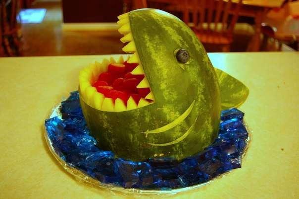 поделка из арбуза акулья пасть
