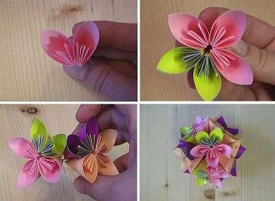 Сделайте 12 цветов, а потом приступите к сборке шара кусудама из цветов для начинающих. В середину шара можно поместить нитку, чтобы готовую поделку можно было повесить.