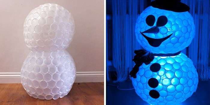 снеговик из стаканчиков своими руками