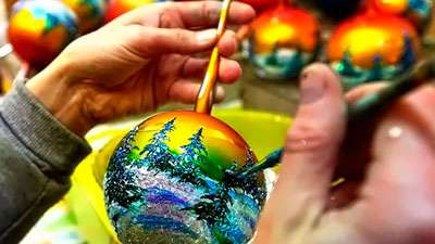 роспись елочных игрушек своими руками