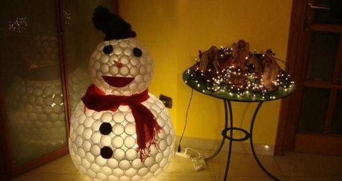Снеговик из прозрачных пластиковых стаканчиков своими руками фото 988