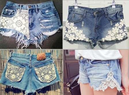 Шорты из старых джинсов своими руками с кружевами