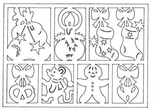 трафарет новогодних рисунков