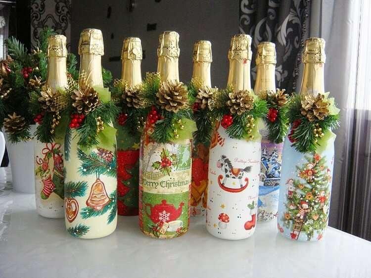 как можно украсить своими руками шампанское к новому году