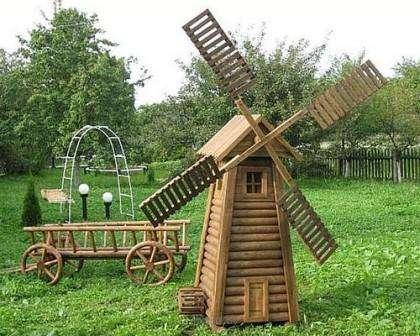 Нет ничего сложного в том, чтобы своими руками сделать декоративную мельницу. Сначала необходимо разобраться с конструкцией мельницы. Сос