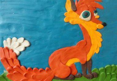 Картина из пластилина на картоне для детей. Фото