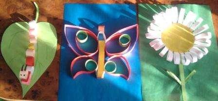 Одна из самых простых детских поделок – аппликация из бумаги. Вы можете попросить ребенка вырезать цветы из бумаги и наклеить их на карт