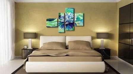 Фото картин из нескольких частей в интерьере спальни: