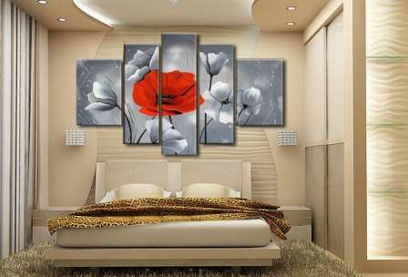модульные картины в интерьере фото цветы