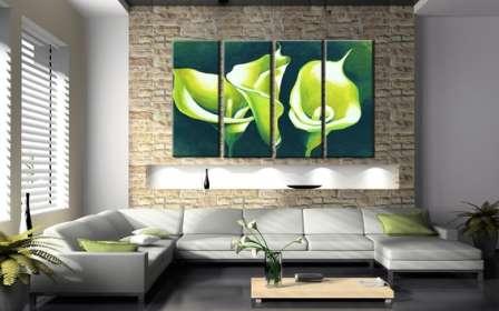 Модульные картины в разных комнатах, фото: