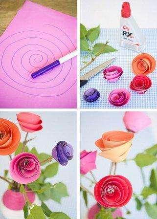 Дети 5-6 лет уже смогут нарисовать спираль на цветной бумаге. После этого нужно аккуратно вырезать деталь по линии. Если скрутить спиральку, то получится бутон розы. Его можно закрепить на шпажке или трубочке с помощью клея или скотча