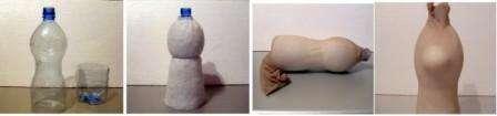 Еще один способ – сделать куклу из капроновых колготок на пластиковой бутылке. Для этого вам нужно будет взять бутылку подходящего размера и отрезать у нее дно. После этого обтяните бутылку колготками в неск