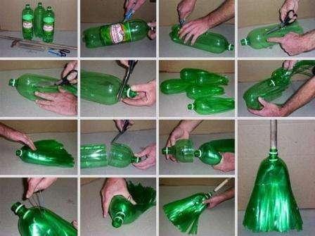 Нужно провести уборку на даче, но нет метлы? Воспользуйтесь опять пластиковыми бутылками. Для этого у каждой бутылки обрезают дно, а потом делают мелки надрезы вдоль. Вам нужно сделать и другие заготовки, в к