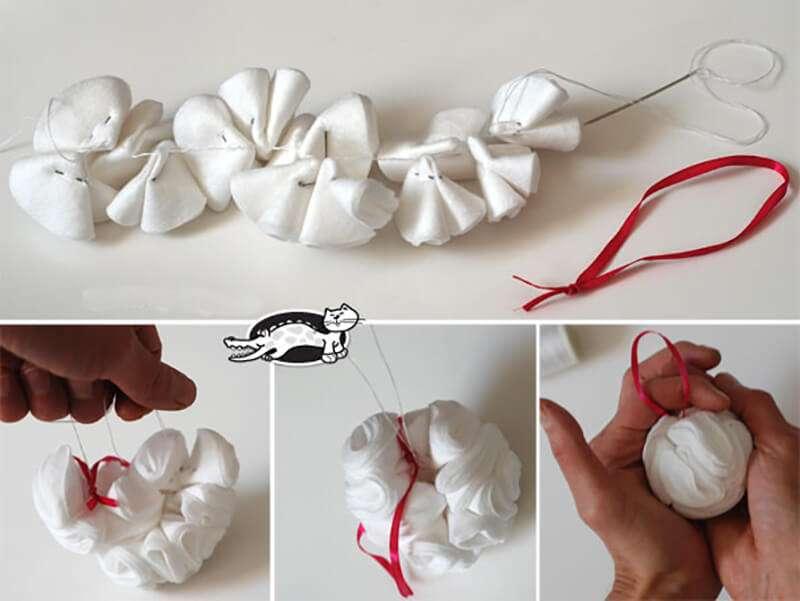 Как сделать шар из ватных дисков своими руками