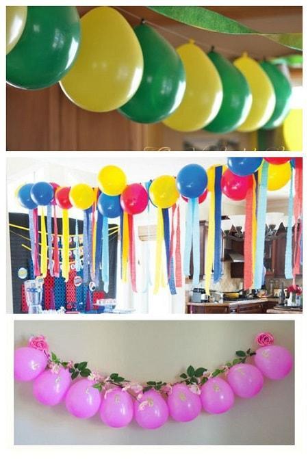 как украсить комнату шарами без гелия