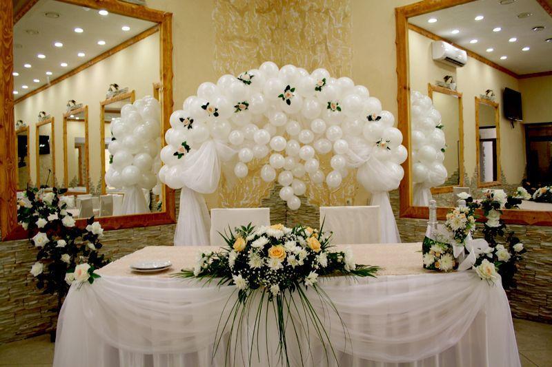 украсить зал на свадьбу шарами