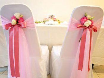банты на свадебные стулья